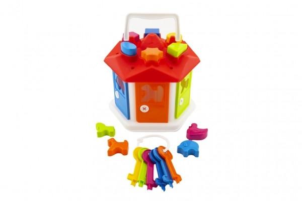Vkladačka domček plast s kľúčmi sa zvieratkami v sáčku 19x20x19cm 12m +