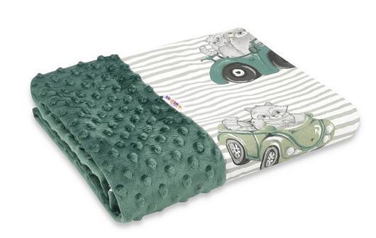 Baby Nellys Bavlnená deka s Minky 100x75cm, Baby Car - zelená