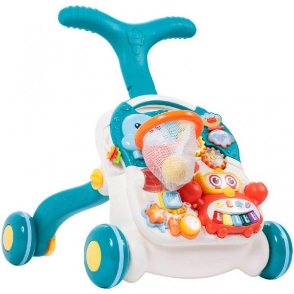 Tulimi Detské interaktívne chodítko a stolček Walker 2v1 - s príslušenstvom, modré