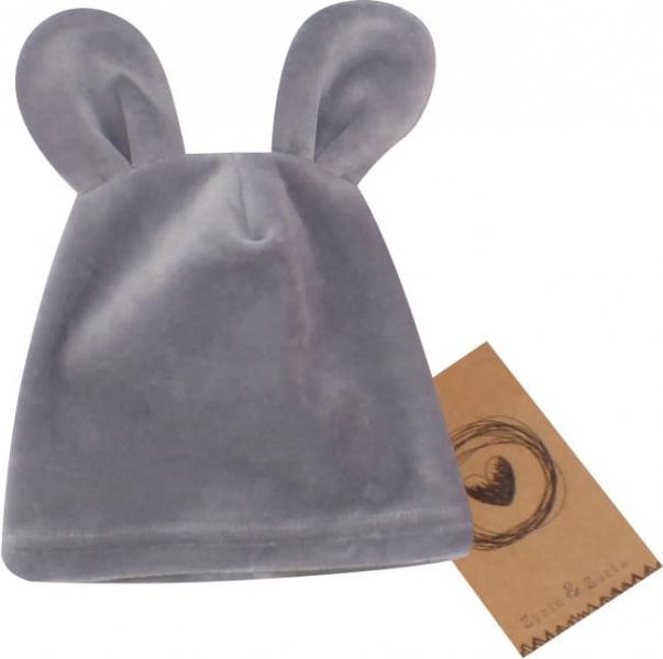 Velúrová, semišková čiapočka s uškami Teddy, sivá, veľ. 68/74