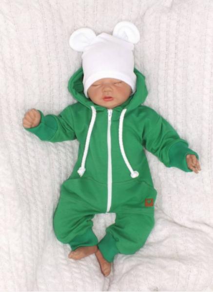 Detský teplákový overal s kapucňou, zelený, veľ. 62