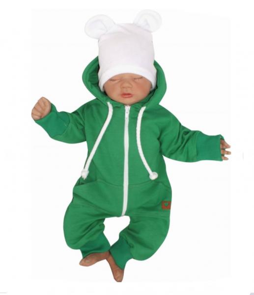 Detský teplákový overal s kapucňou, zelený, veľ. 68