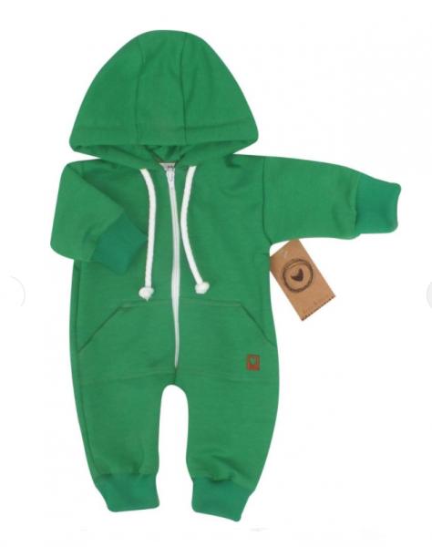 Detský teplákový overal s kapucňou, zelený, veľ. 74