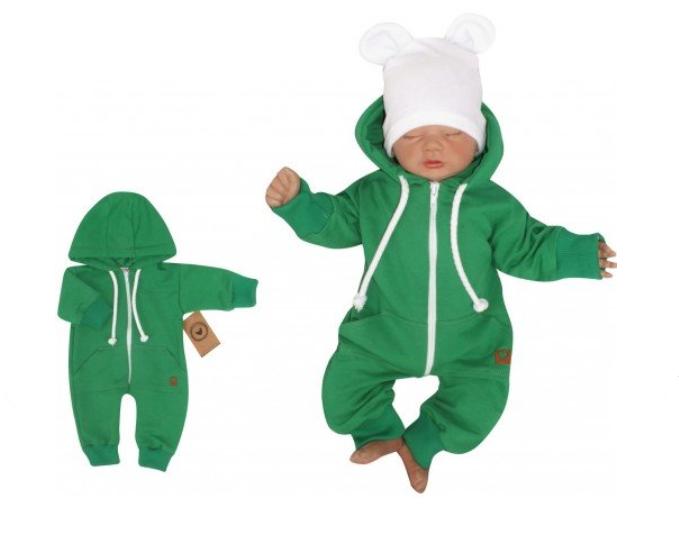 Z&Z Detský teplákový overal s kapucňou, zelený, veľ. 86-#Velikost koj. oblečení;86 (12-18m)