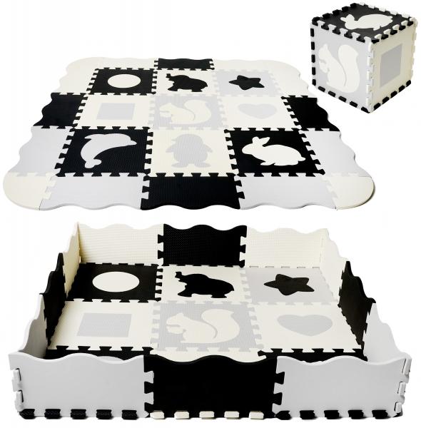 Tulio Detské penové puzzle 115x115cm, hracia deka, podložka na zem XXL - zvieratká