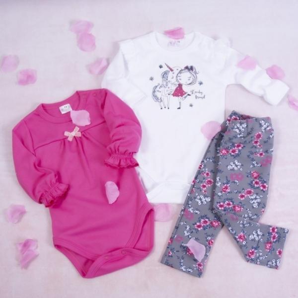 K-Baby 3-dielna sada, 2x body dlhý rukáv, legíny - Unicorn, ružová, biela, sivá, veľ. 80