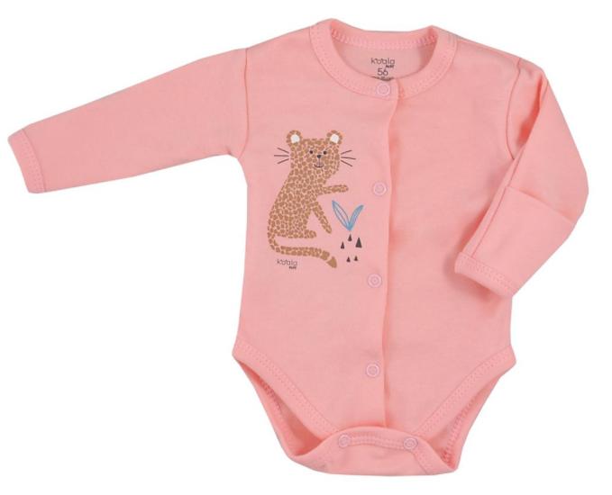 Koala Baby body s dlouhým rukávem celorozepínací Farma - Gepard, lososové