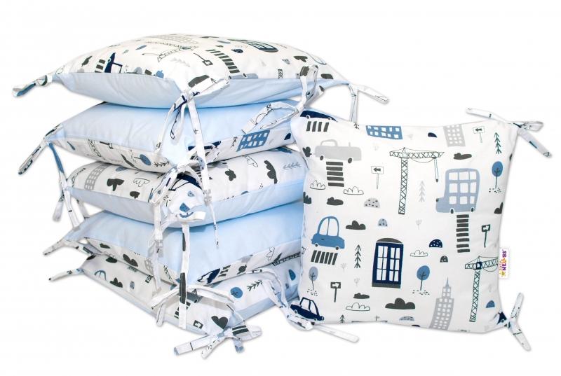 VELVET vankúšikový mantinel Baby Nellys, Mestečko -velvet + bavlna, modrý