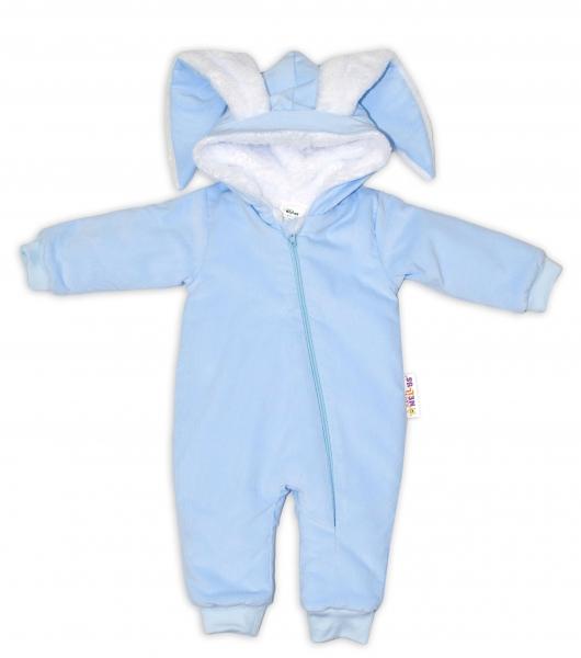 Baby Nellys Menčestrová kombinézka /overal s kožušinkou Cute Bunny - modrá, veľ. 62/68