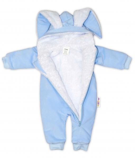 Kojenecká menčestrová kombinéza /overal s kožušinkou Cute Bunny - modrá, veľ. 62/68
