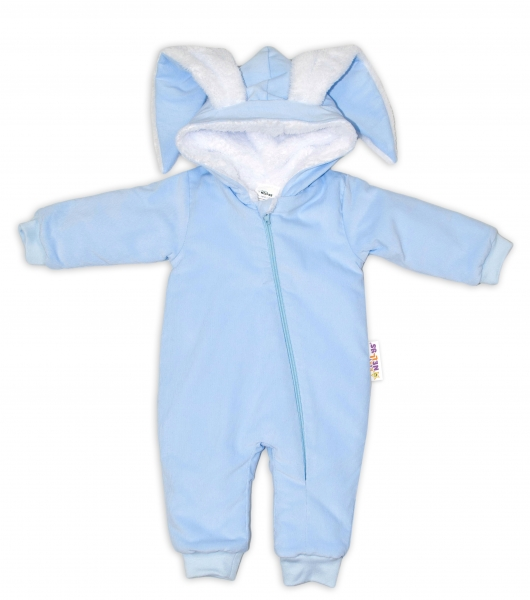 Baby Nellys Menčestrová kombinézka /overal s kožušinkou Cute Bunny - modrá, veľ. 74/80