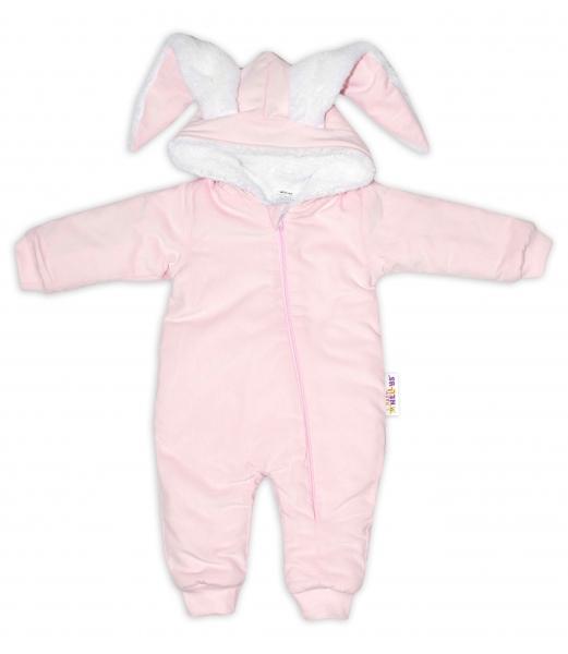 Baby Nellys Menčestrová kombinézka /overal s kožušinkou Cute Bunny - růžová, veľ. 74/80