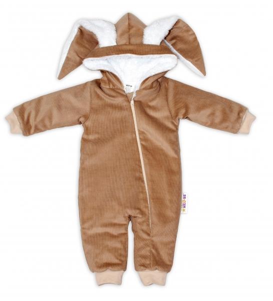 Baby Nellys Menčestrová kombinézka /overal s kožušinkou Cute Bunny - béžová, veľ. 62/68