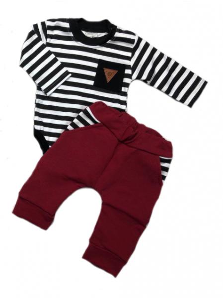 G-baby 2-dielna dojčenská sada Boss s prúžkom - vínová, čierna, vel. 74-#Velikost koj. oblečení;74 (6-9m)