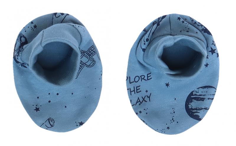 Mamatti Dojčenské topánočky, ponožtičky Vesmír - modré s potlačou