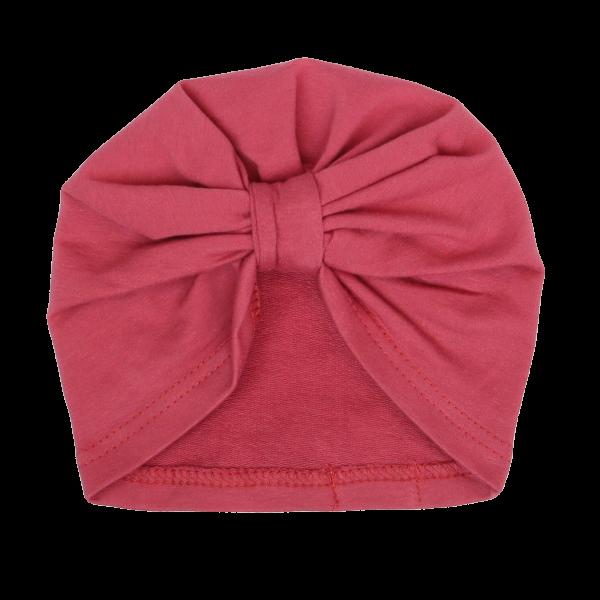 Mamatti Bavlnená detská čiapka - turban, Vlčí Mak - malinová