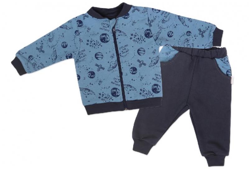 Mamatti Detská tepláková súprava zapínanie na zip Vesmír - modrá s potlačou, veľ. 74