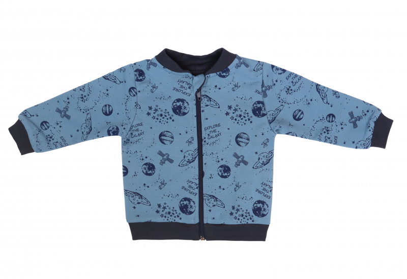 Detská tepláková súprava zapínanie na zips Vesmír - modrá s potlačou, veľ. 80