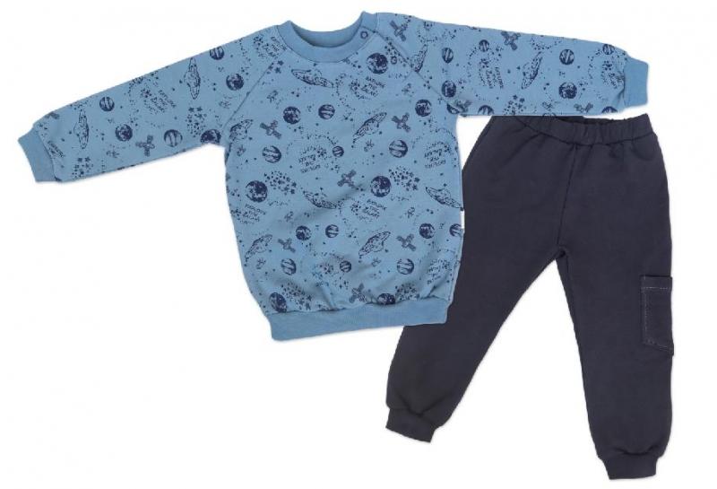 Mamatti Detská tepláková súprava zapínanie na boku Vesmír - modrá s potlačou