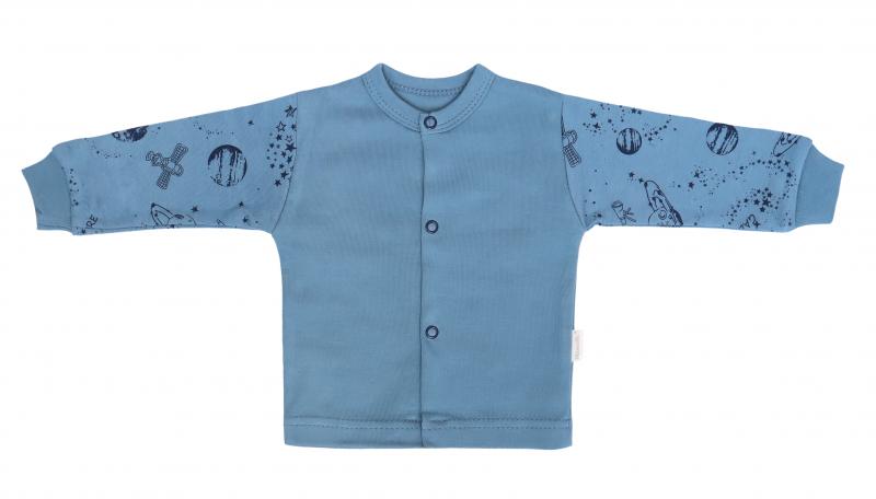 Mamatti Novozenecká bavlnená košieľka, kabátik, Vesmír - modrá s potlačou-#Velikost koj. oblečení;50 (0-1m)