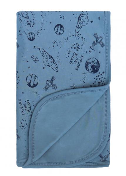 Mamatti Detská oboust. bavl. deka, 80 x 90 cm, v dar. krabičke Vesmír, modrá