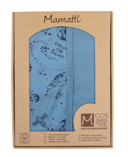 Mamatti Detská obojst. bavl. deka, 80 x 90 cm, v dar. krabičke Vesmír, modrá