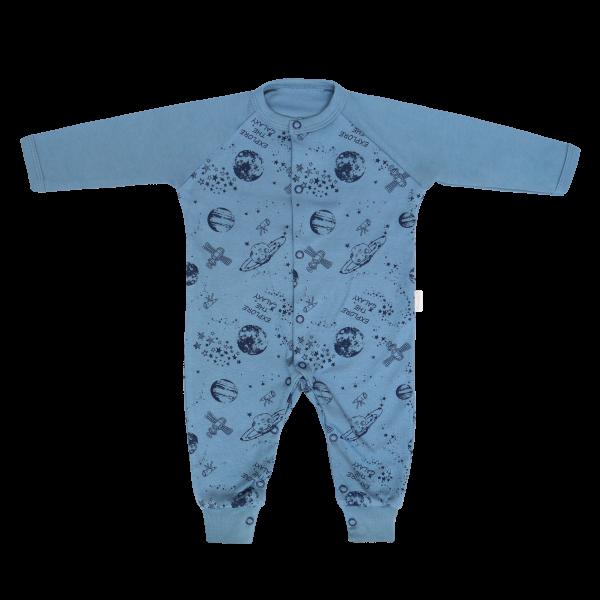 Dojčenský bavlnený overal bez šlapiek Vesmír, modrý s potlačou, veľ. 74