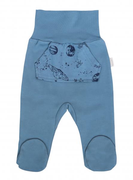 Mamatti Dojčenské polodupačky Vesmír, modré s vreckami-#Velikost koj. oblečení;50 (0-1m)