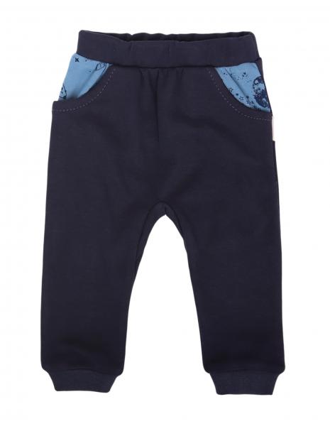 Mamatti Dojčenské tepláčky s vreckami, Vesmír - granátové, veľ. 80-#Velikost koj. oblečení;80 (9-12m)