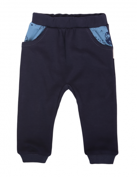 Mamatti Dojčenské tepláčky s vreckami, Vesmír - granátové, veľ. 92-#Velikost koj. oblečení;92 (18-24m)