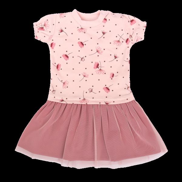 Mamatti Detské šaty s tylom, Kr. rukáv, Vlčí Mak - ružové, veľ. 92-#Velikost koj. oblečení;92 (18-24m)