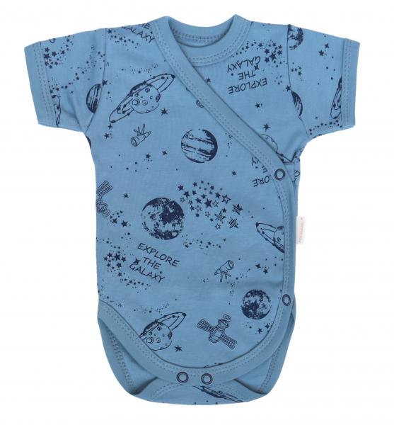Mamatti Dojčenské body Kr. rukáv, zapínanie bokom, Vesmír - modré s potlačou, veľ. 62