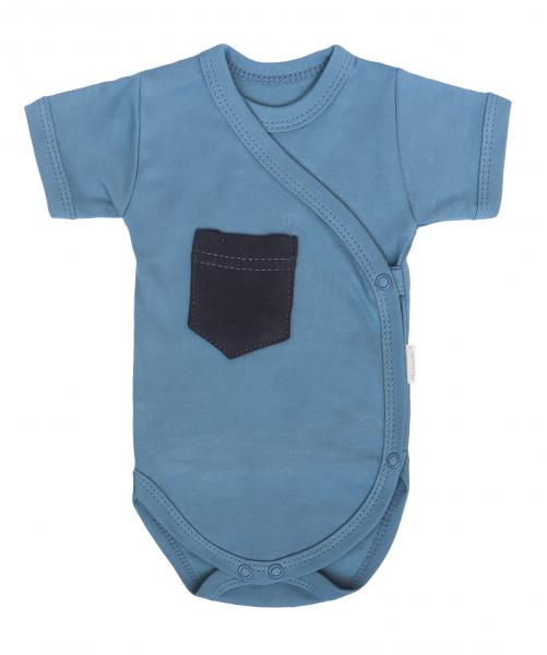 Mamatti Dojčenské body Kr. rukáv, zapínanie bokom, Vesmír - modré s kapsičkou, veľ. 56-#Velikost koj. oblečení;56 (1-2m)