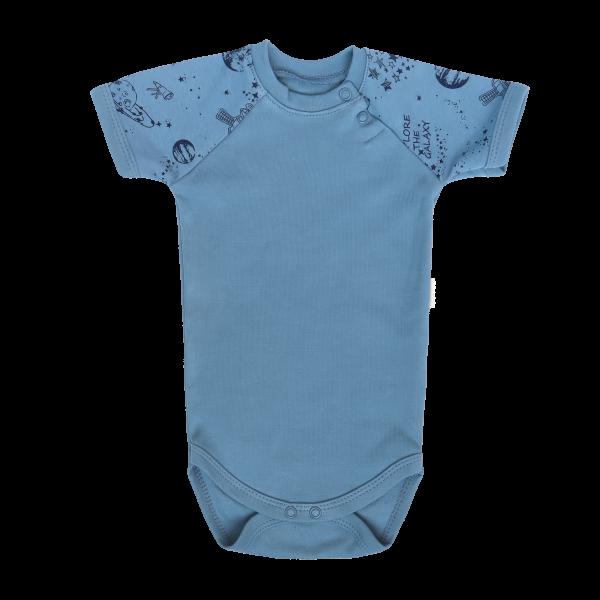Mamatti Dojčenské body Kr. rukáv, Vesmír - modré, veľ. 80
