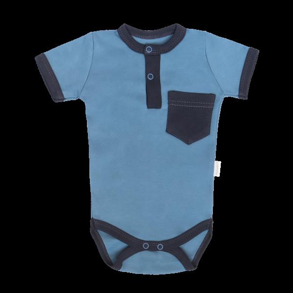 Mamatti Bavlnené body polo kr. rukáv, Vesmír - modré s kapsičkou, veľ. 74-#Velikost koj. oblečení;74 (6-9m)
