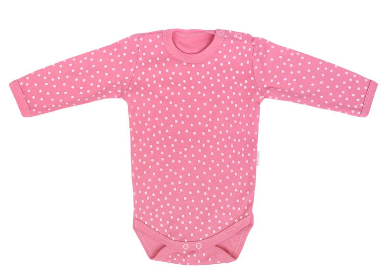 Mamatti Dojčenské body dl. rukáv, Princezna Bodka - ružové, vel. 68-#Velikost koj. oblečení;68 (4-6m)