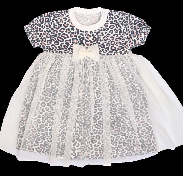 Mamatti Sukničkobody s tylom, krátký rukáv Gepardík - biele so vzorom, veľ. 68-#Velikost koj. oblečení;68 (4-6m)