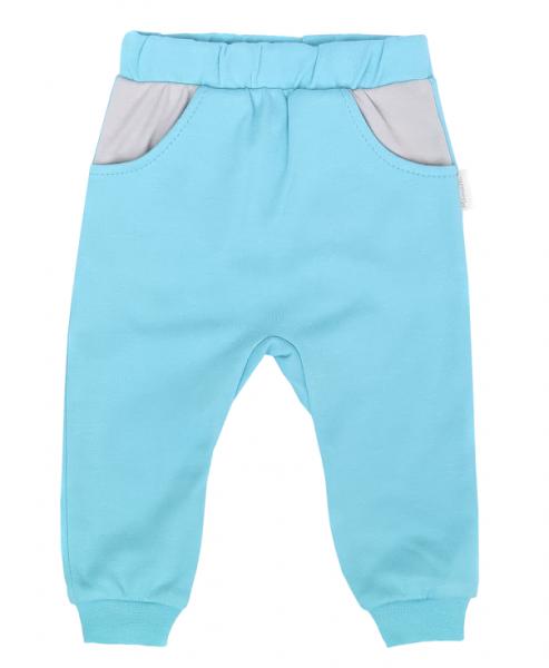 Mamatti Dojčenské tepláčky s vreckami, Liška - tyrkysové-#Velikost koj. oblečení;68 (3-6m)