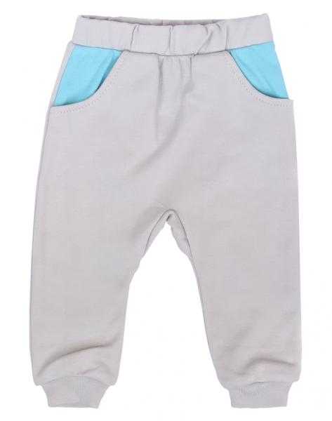 Mamatti Dojčenské tepláčky s vreckami, Liška - sivé, veľ. 74-#Velikost koj. oblečení;74 (6-9m)