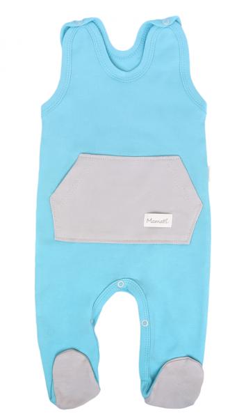 Mamatti Dojčenské dupačky s vreckom Liška, tyrkysové-#Velikost koj. oblečení;50 (0-1m)