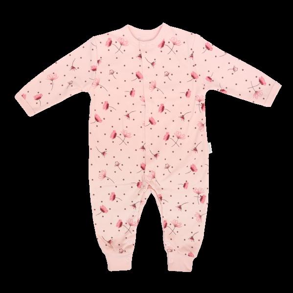 Mamatti Dojčenský bavlnený overal bez šlapiek Vlčí Mak, růžový s kvietki