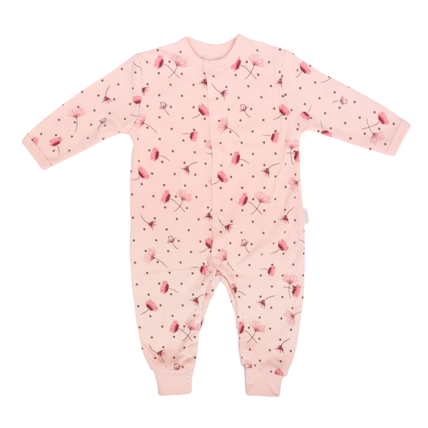 Mamatti Dojčenský bavlnený overal bez šlapiek Vlčí Mak, růžový s kvietki, veľ. 80