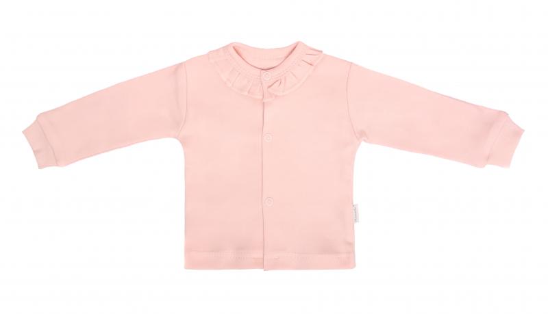 Mamatti Novozenecká bavlnená košieľka, kabátik, Vlčí Mak - růžová-#Velikost koj. oblečení;50 (0-1m)