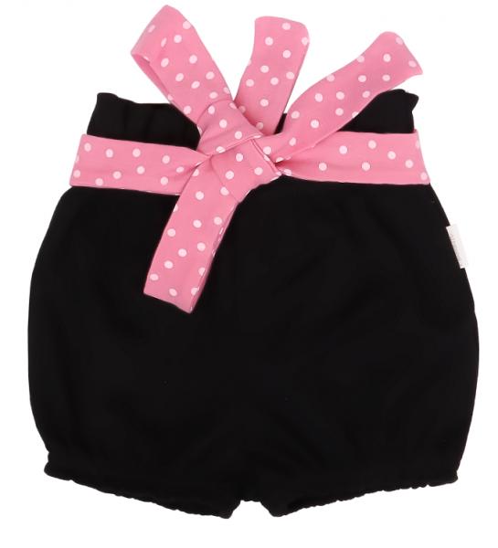Mamatti Bavlnené kraťasky Princezna Bodka - čierné s ružovou mašlou, veľ. 92-#Velikost koj. oblečení;92 (18-24m)