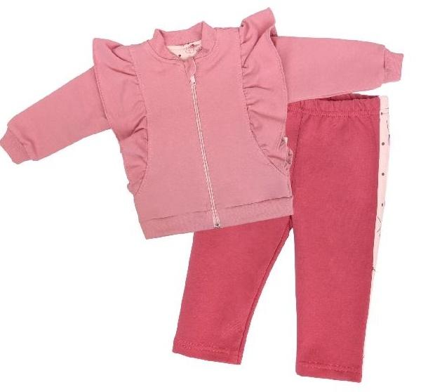 Mamatti Detská tepláková súprava zapínanie na zip, Vlčí Mák - růžová, malinová, veľ. 98-#Velikost koj. oblečení;98 (24-36m)