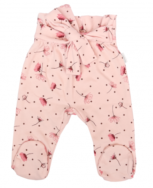 Mamatti Dojčenské polodupačky s ozdobným pásikom, Vlčí Mak - ružové s kvietkami, veľ. 74-#Velikost koj. oblečení;74 (6-9m)