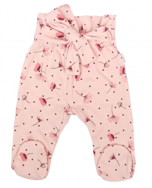 Mamatti Dojčenské polodupačky s ozdobným pásikom, Vlčí Mak - ružové s kvietkami, veľ. 80-#Velikost koj. oblečení;80 (9-12m)