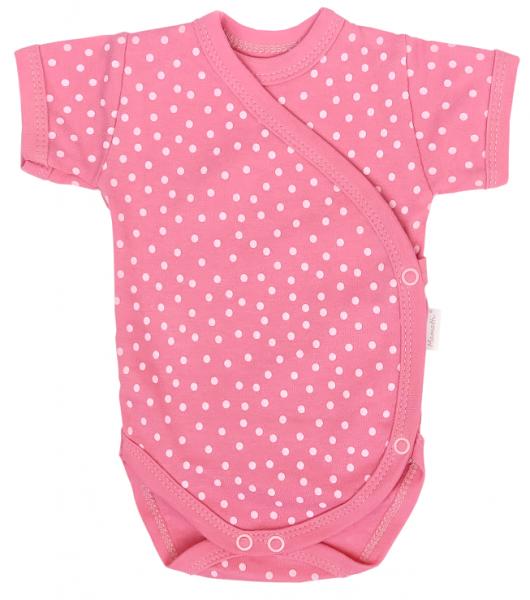 Mamatti Dojčenské body Kr. rukáv, zapínanie bokom, Princezna Bodka, ružové-#Velikost koj. oblečení;56 (1-2m)