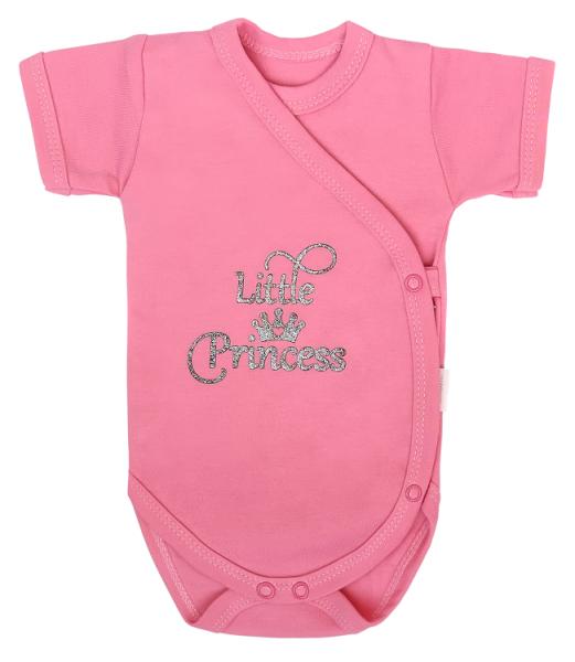 Mamatti Dojčenské body Kr. rukáv, zapínanie bokom, Princezna Bodka, ružové s nápisem-#Velikost koj. oblečení;56 (1-2m)