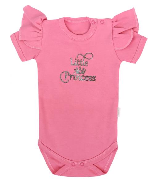 Mamatti Dojčenské body Kr. rukáv, Princezna Bodka, ružové s nápisem, vel.80-#Velikost koj. oblečení;80 (9-12m)